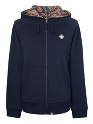 Pretty Green Men's Raynham Paisley Lined Hoody Navy