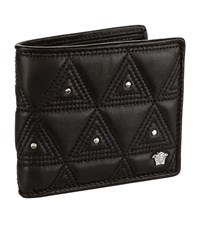 Versace Quilted Leather Bi Fold Wallet Unisex Black