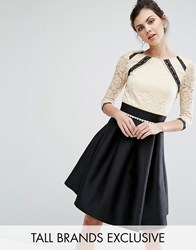 Little Mistress Tall 2 In 1 Lace Skater Dress With Contrast Skirt Multi