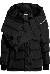 Balenciaga Swing Doudoune Oversized Quilted Shell Hooded Coat Black