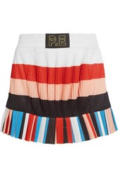 P.E Nation The Heat Pleated Striped Mesh Mini Skirt White
