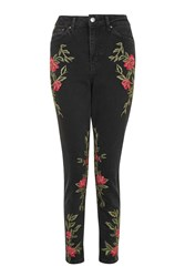 Topshop Tall Rose Embroidered Mom Jeans Washed Black