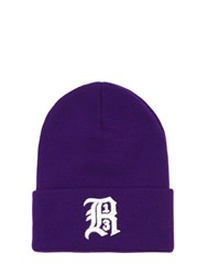 R 13 Embroidered Knit Beanie Hat Purple