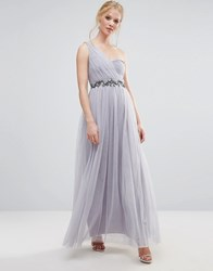 Little Mistress One Shoulder Embellished Maxi Dress Grey
