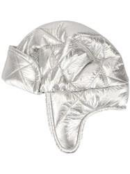 Federica Moretti Quilted Aviator Hat Silver