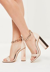 Missguided Rose Gold Chunky Chain Ankle Strap Block Heeled Sandals