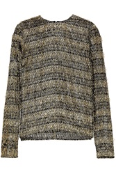 Isa Arfen Fringed Striped Lame And Jersey Top