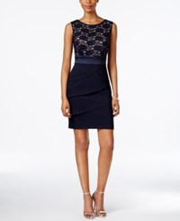 Connected Tiered Sequined Lace Sheath Dress Navy