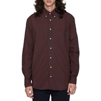 Gtiman Vintage Red Check Button Down Shirt Black