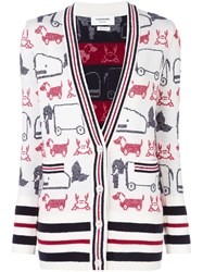Thom Browne Animal Print Cardi Coat White