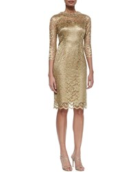 Rickie Freeman For Teri Jon 3 4 Sleeve Lace Sheath Cocktail Dress Gold