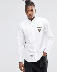 Aape By A Bathing Ape Basic Long Sleeve Shirt In Slim Fit White