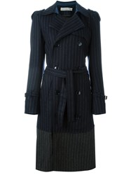 Golden Goose Deluxe Brand Pinstripe Trench Coat Blue