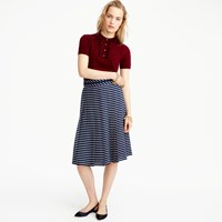 J.Crew Double Pleated Midi Skirt In Stripe