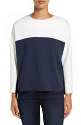 Petite Women's Everleigh Colorblock Sweatshirt White Navy