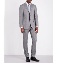 Corneliani Checked Slim Fit Wool Suit Mid Grey