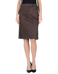 Tru Trussardi Knee Length Skirts Dark Brown