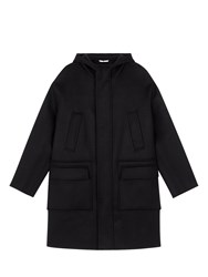 Valentino Wool Hooded Coat Black