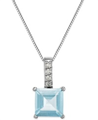 Macy's Aquamarine 1 1 2 C.T. T.W. And Diamond Accent Pendant Necklace In 14K White Gold Blue