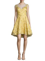 Marchesa Chartreuse Embroidered Dress