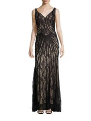 Basix Black Label Piped Lace Gown Black