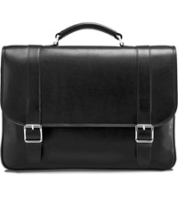 Aspinal Of London Leather Satchel Briefcase Black