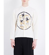 J.W.Anderson Dancing Wolves Slim Fit Linen Shirt Off White