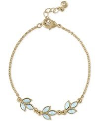 Rachel Roy Gold Tone Colored Stone Leaf Flex Bracelet
