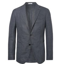 Boglioli Blue Unstructured Virgin Wool Blend Hopsack Blazer Blue