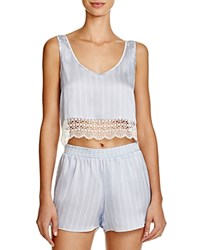 Else Pinstripe Lace Trim Crop Tank Blue Ivory