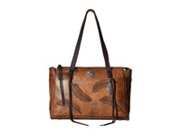 American West Sacred Bird Zip Top Tote W Secret Compartment Distressed Charcoal Brown Tote Handbags