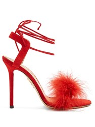 Charlotte Olympia Salsa Feather Embellished Suede Sandals Red