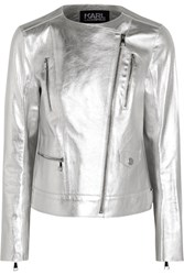 Karl Lagerfeld Metallic Textured Leather Biker Jacket Silver