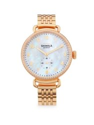 Shinola Canfield Diamond Mother Of Pearl And Rose Goldtone Stainless Steel Bracelet Watch
