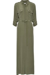 Equipment Major Washed Silk Maxi Dress Army Green