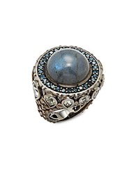 Stephen Dweck Cyprus Lemon Quartz Blue Topaz Labradorite And Sterling Silver Ring