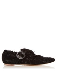 Simone Rocha Tweed Cross Strap Flats Black
