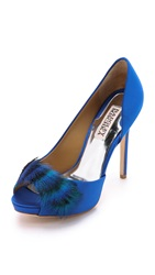 Badgley Mischka Piper Feather Peep Toe Pumps Sapphire