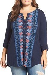 Lucky Brand Plus Size Women's Graphic Print Top Navy Multi