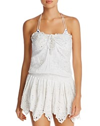 Surf Gypsy Eyelet Smocked Waist Strapless Dress Swim Cover Up White