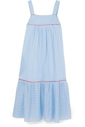 Paul And Joe Bow Embellished Striped Cotton Blend Poplin Midi Dress Blue