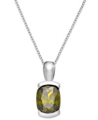 B. Brilliant Olive Cubic Zirconia Pendant Necklace In Sterling Silver