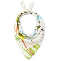 Brioni Printed Cotton And Silk Blend Scarf Off White