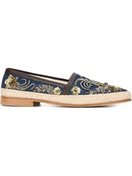 Dolce And Gabbana Embellished Espadrilles Blue