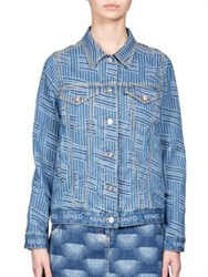 Kenzo Striped Jacquard Denim Jacket Bleached Blue