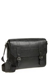 Men's Burberry 'Small Grifford' Check Embossed Leather Messenger Bag