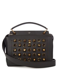 Fendi Dotcom Embellished Leather Bag Black Gold