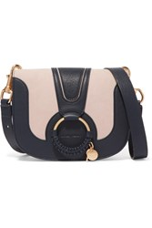 See By Chloe Hana Small Textured Leather And Suede Shoulder Bag Midnight Blue