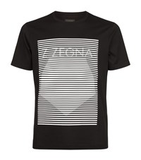 Z Zegna Mercerised Cotton Barcode T Shirt Male Black