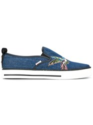 Red Valentino Bird Patch Trainers Blue